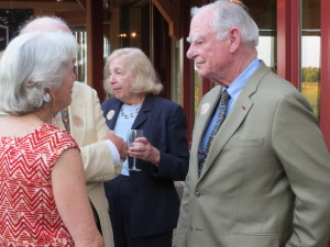 Gerry (from right) and Marguerite Lenfest accept the thanks of an appreciative audience for the latest additions to the ChesLen Preserve.